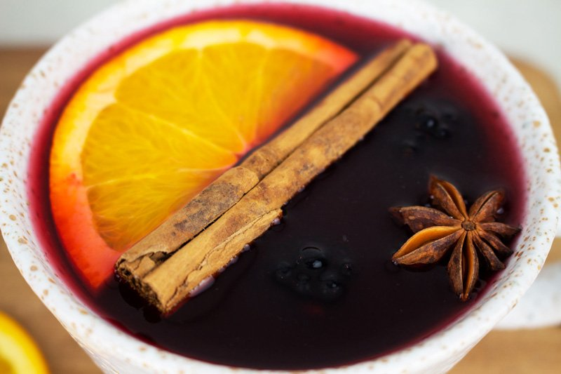 This non-alcoholic mulled wine is made with pomegranate, cranberry, and spices. An alcohol-free winter favorite.