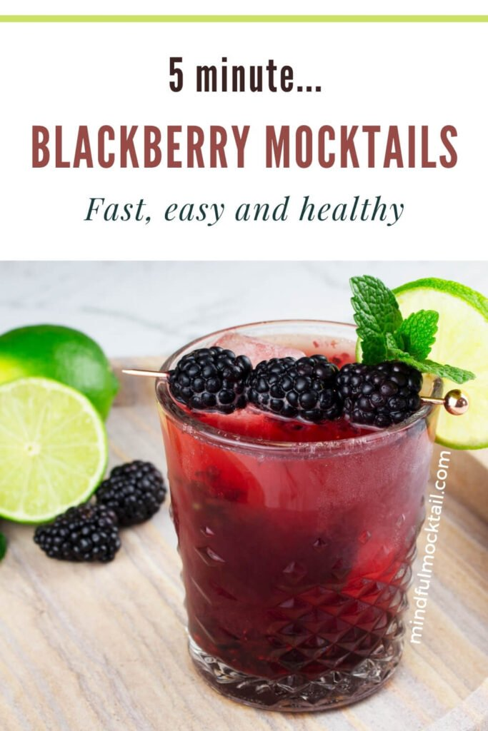 blackberry mocktails pinterest image with a single mocktail sitting on a marble tray with a lime wheel, sprig of mint and cocktail pick with 3 berries