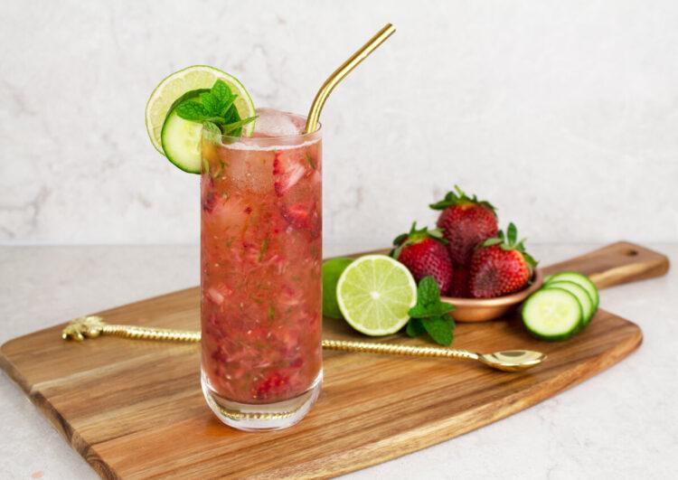 strawberry cucumber cooler mocktail