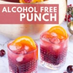 2 glasses of Christmas punch without alcohol and a gold serving bowl