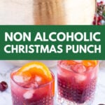 2 glasses of non alcoholic Christmas punch and a gold bowl with the drink inside