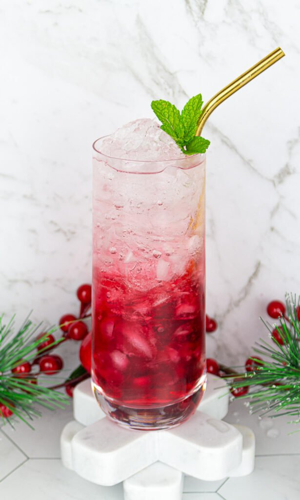 tall glass with cranberry juice and sparkling water garnished with a mint leaf
