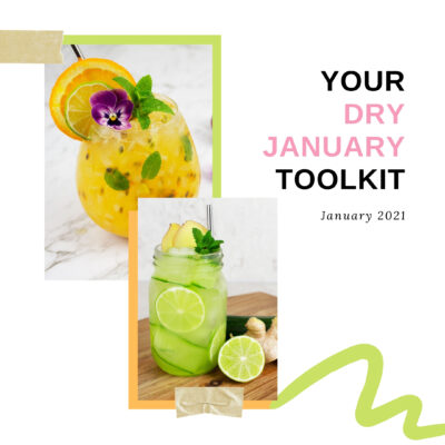 dry January toolkit text with 2 mocktails