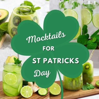 green St Patricks Day mocktails with a shamrock and text over the top that says mocktails for St Patricks Day