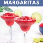 easy virgin raspberry margaritas text with an image of 2 garnished with a lime wheel and salt rim