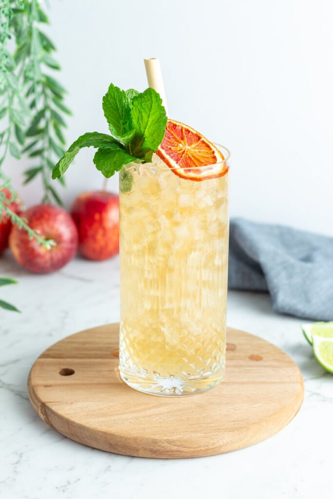 tall glass with light orange liquid and small ice blocks garnished with a citrus wheel and mint leaves and a bamboo straw